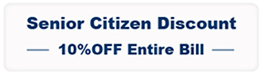 Senior Citzen Discount 10% off entire bills